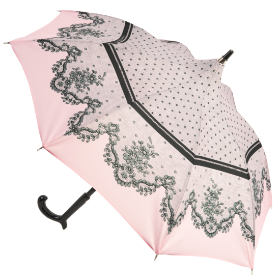 Dentelle Blush Pink Lace Print Sun Parasol by Chantal Thomass