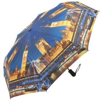 Galleria Art Print Auto Open & Close Folding Umbrella - London Evening