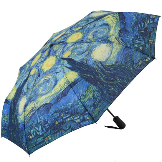 Galleria Art Print Auto Open & Close Folding Umbrella - Starry Night by Van Gogh
