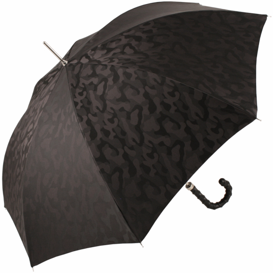 Luxury Gents Jacquard Camo Umbrella with Ribbed Leather Handle by Pasotti