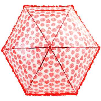 Susino Clear Mini Folding Umbrella - Lips & Hearts