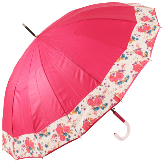 Summer Floral Bouquet 16 Rib Umbrella by Cachemir - Pink