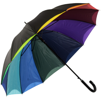 Bright Rainbow - Double Skin Automatic Opening Umbrella - Black