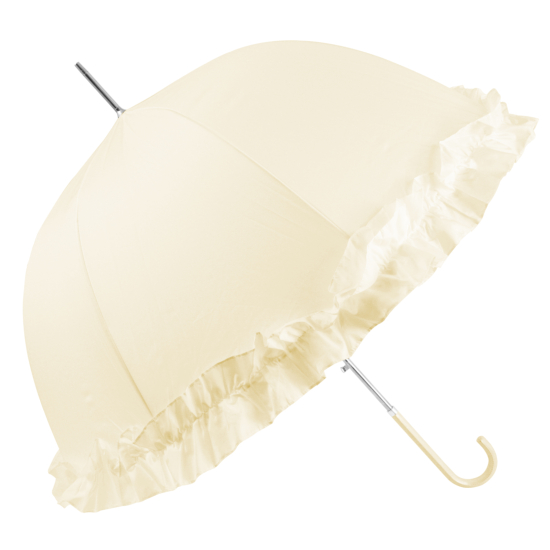 Abbi Domed Frilly Wedding Umbrella - Ivory