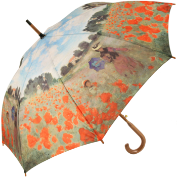 Galleria Art Print Walking Length Umbrella - Field of Poppies by Monet