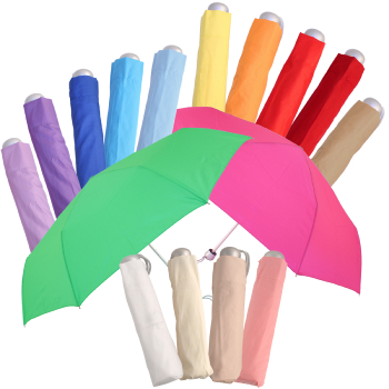 Mini Colours - Plain Coloured Folding Umbrella - Mushroom