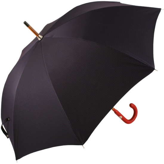 Luxury Gents Navy & Red Spot Umbrella with Red Leather Handle by Pasotti