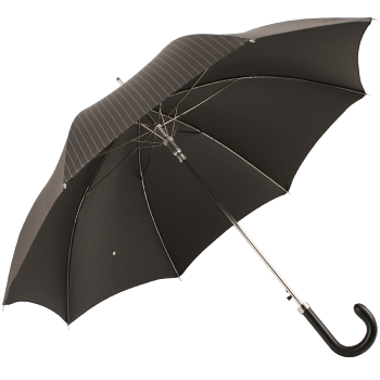 Luxury Gents Pinstripe Umbrella with Leather Handle by Pasotti