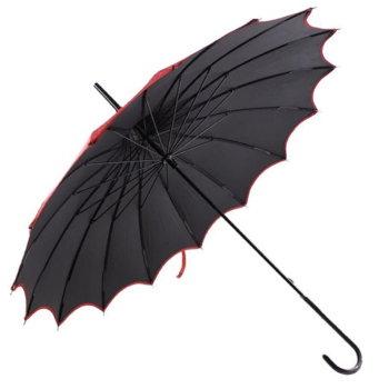 Boutique Patterned UVP Pagoda Umbrella with Scalloped Edge - Red