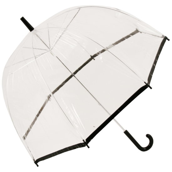 Regular Dome Slimtrim Umbrella with Coloured Trim - Black