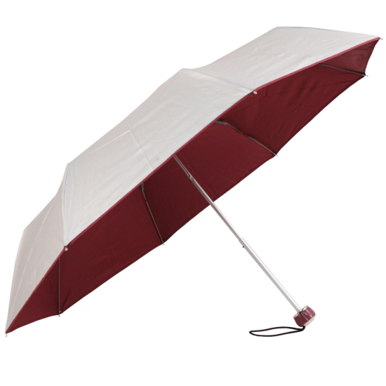 UV Protective Lightweight Folding Umbrella - Silver & Burgundy