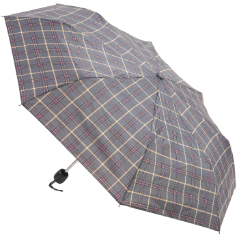 Tartan Mini Umbrella - Grey & Purple