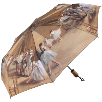 Galleria Art Print Auto Open & Close Folding Umbrella - Ballet Class by Degas