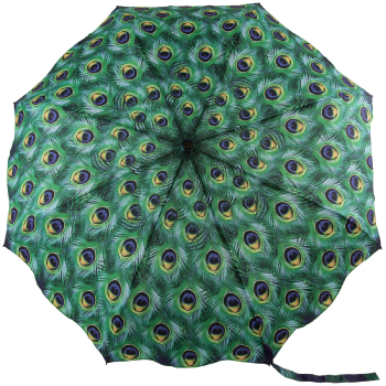 Galleria Art Print Auto Open & Close Folding Umbrella - Peacock Feathers