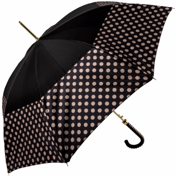 Fantasia Charcoal/Cream Polka Dot Automatic Umbrella with Studded Crook Handle by Pasotti