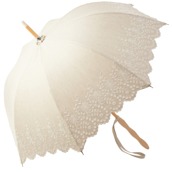 Amelie with Ondulé Handle - UVP Beige Embroidery Anglaise Parasol by Pierre Vaux