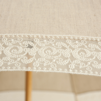 Eleonore - UVP Beige Parasol with Ivory Curl Lace Bands by Pierre Vaux