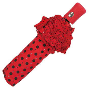 Frills & Sparkles Polkadot Folding Umbrella - Red