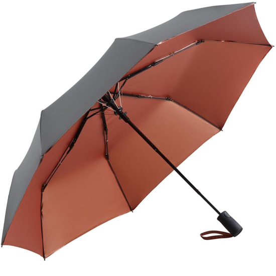 UV Protective SPF50+ Two-Tone Automatic Opening Folding Umbrella - Grey & Copper