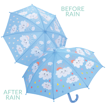 Colour Changing Childrens Umbrella - Raindrops & Clouds