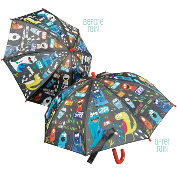 Colour Changing Childrens Umbrella - Monsters