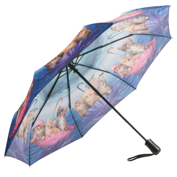 Galleria Art Print Auto Open & Close Folding Umbrella - Kittens Ahoy!