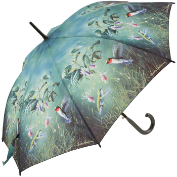 Hautman Brothers Art Print Walking Length Umbrella - Hummingbirds