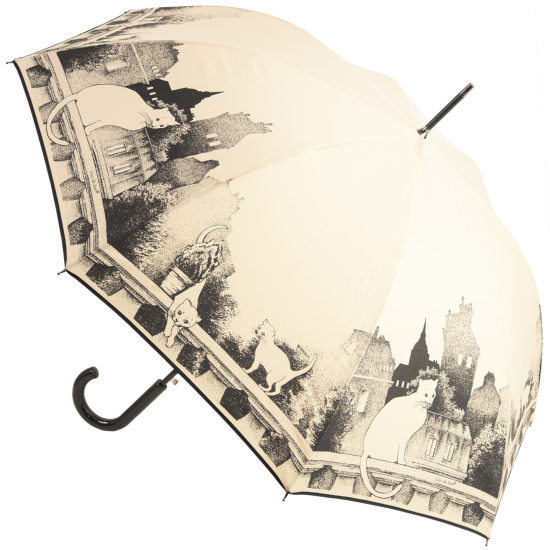 Chat Sur le Balcon Walking Length Umbrella by Guy De Jean