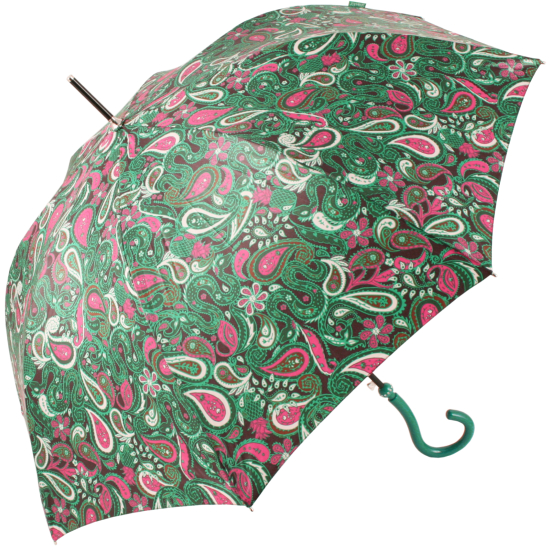 Paisley Walking Length Umbrella by Joy Heart - Green