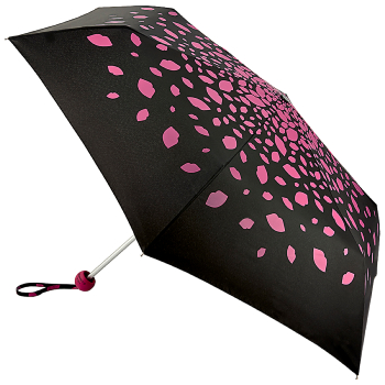 Lulu Guinness Minilite Folding Umbrella - Raining Lips Pink
