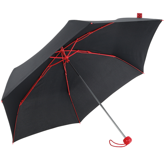 Contrast Red - Folding Umbrella with Coloured Ribs