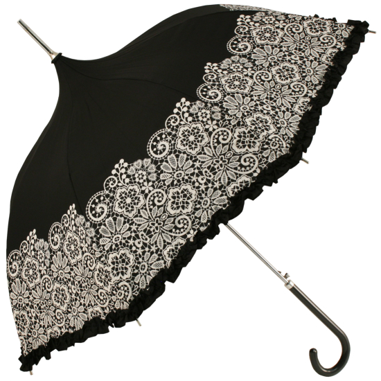 Black Frilled Pagoda Umbrella with White Lace Effect Border by Molly Marais