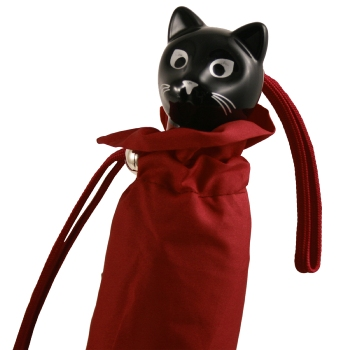 Cat Folding Umbrella by Rainbow of Milan - Burgundy