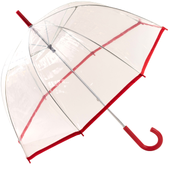 See-Through Slimtrim Clear Dome Umbrella - Red