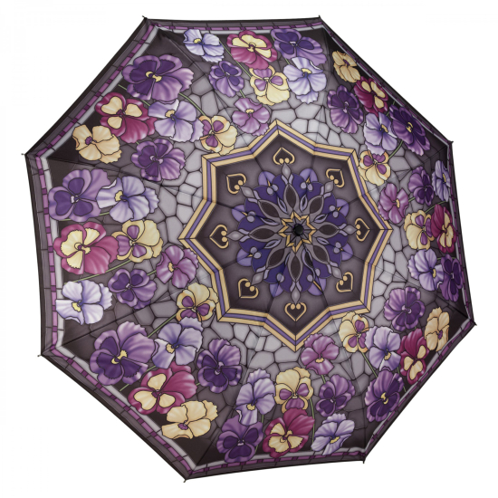 Galleria Art Print Auto Open & Close Folding Umbrella - Stained Glass Pansies