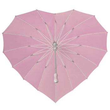 Ex Hire - Heart Umbrella - Powder Pink