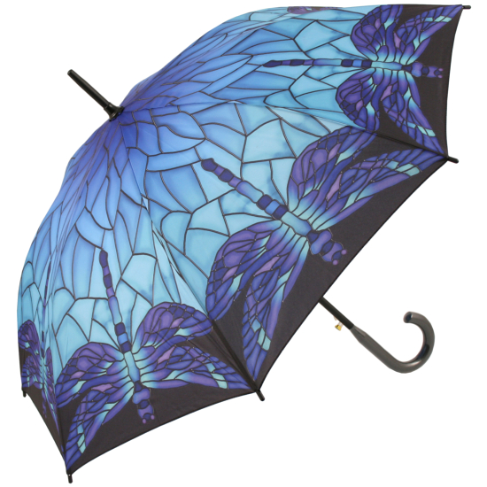Galleria Art Print Walking Length Umbrella - Stained Glass Blue Dragonfly