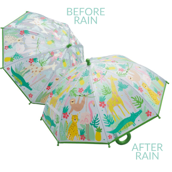 Colour Changing Childrens PVC Umbrella - Jungle