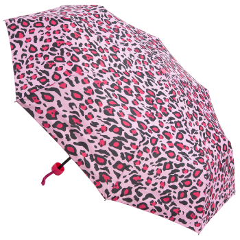 Funky Leopard Folding Umbrella - Pink