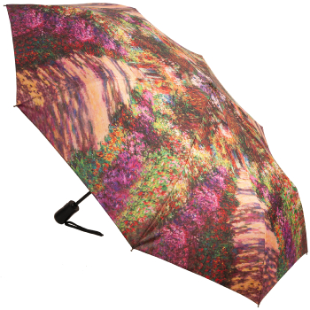 Galleria Art Print Auto Open & Close Folding Umbrella - Garden Path at Giverny by Monet