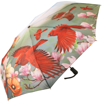 Galleria All-Over Art Print Auto Open & Close Folding Umbrella - Cardinals