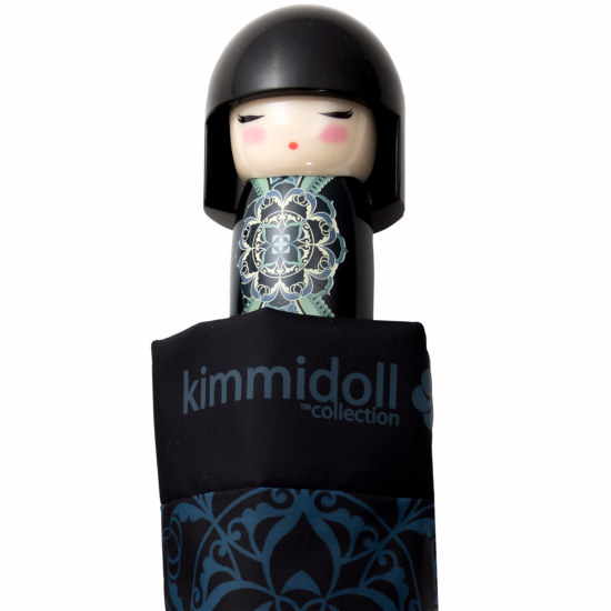 Kimmidoll 'Michina' Folding Umbrella - Navy & Blue Oriental Floral