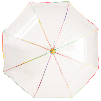 Clear Dome Umbrella with Tropical Multicolour Trim
