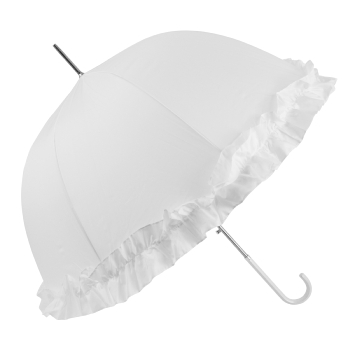 Abbi Domed Frilly Wedding Umbrella - White
