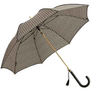 M&P Automatic Walking Length Umbrella with Herringbone Patterned Canopy - Black