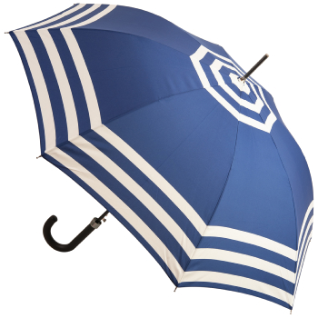 Breton Stripe Walking Length Umbrella - Navy