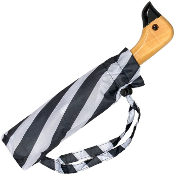 Susino Duck Black & White Folding Umbrella - Stripes