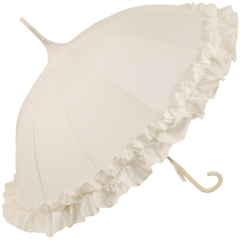 Ex Hire - Lisbeth Ivory Flounce Pagoda Umbrella by Chrysalin