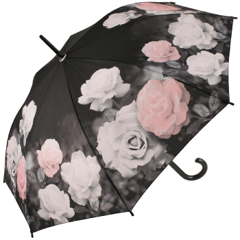 Galleria Art Print Walking Length Umbrella - Vintage Rose