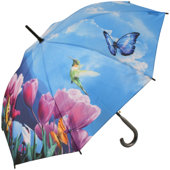 Galleria Art Print Walking Length Umbrella - Tulip Sonata